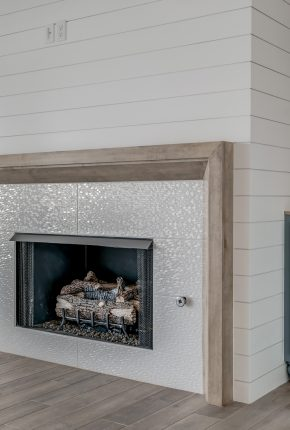 Fireplace in house designed by Covenant Home Builders